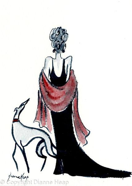 SOPHISTICATION No.6857 Original Greyhound / Woman