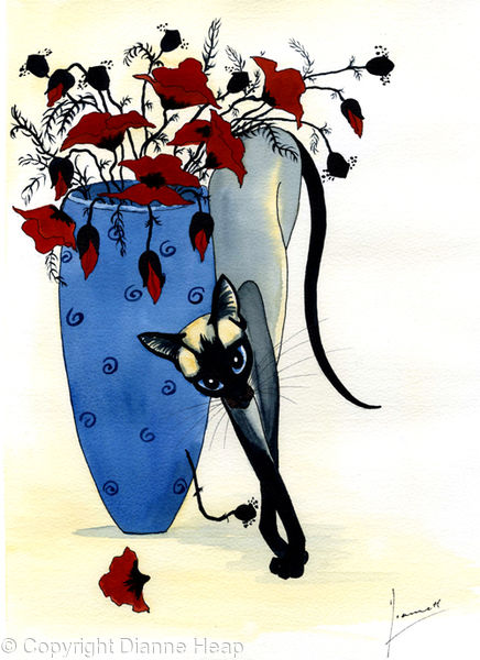 Siamese Cat / Poppies No.5755