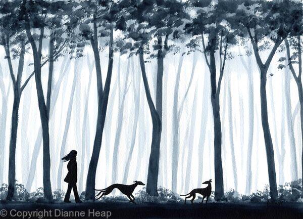 Run Through the Woods No.5665 Dog / Girl