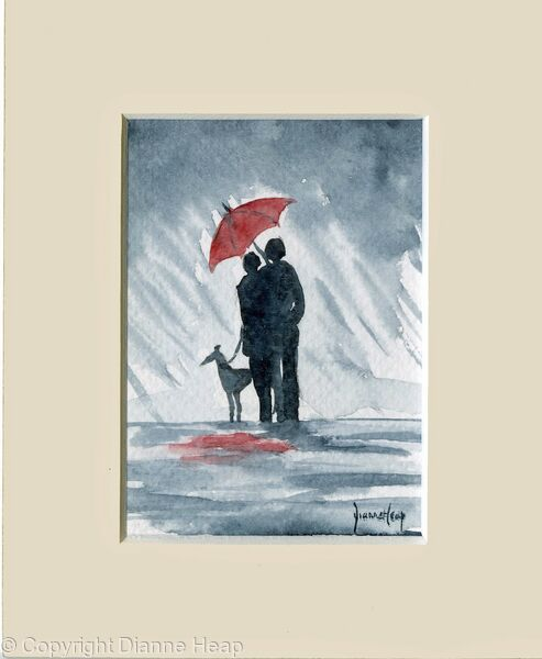 Red Umbrella ACEO 7152 Rain Dog Couple