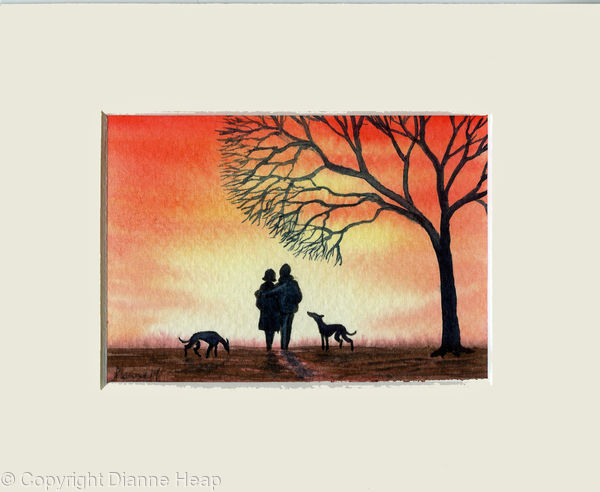 Sunset Walk ACEO 7164 Trees / Dogs / Man