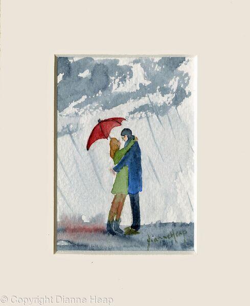 Under my Red Umbrella ACEO 7176 Love