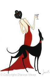 SOPHISTICATION  No.4063 PRINT Lady in Red / Greyhound