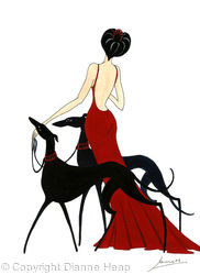 CHARM  No.5907 Print Greyhound Lady in Red