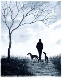 STROLL HOME No.6315 Man / Dogs