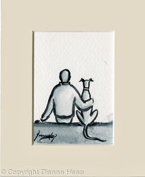 Friendship ACEO 7151 Man / Dog
