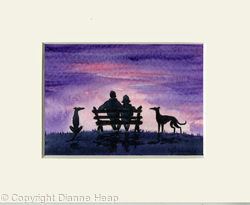 Shared Sunset ACEO 7166 Dogs / Man / Woman