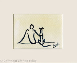 Mans Best Friend ACEO 7168 Line Painting