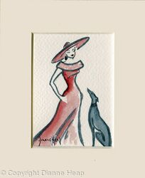 Lady in Red ACEO 7181 Dog