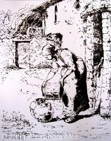 Donna che sta svuotando un secchio (dopo Millet)