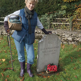 Pam at Lt Col. R.M.Williams graveside, North Cerney,Glos.