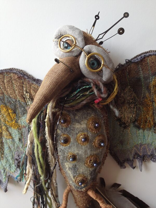 Textile bird soft sculpture