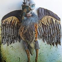 Madame Persnickety Cavell textile sculpture vulture