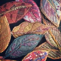 Selection of textile leaf brooches