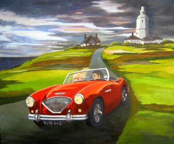 Leaving the lighthouse in my Austin-Healey
