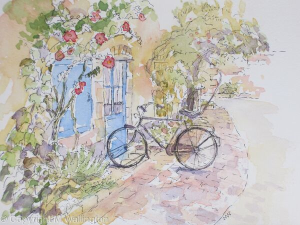 Hollyhocks and Bicycle, France