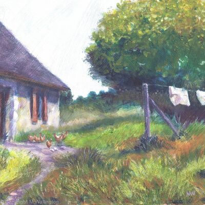 Hens by the Old Cottage, France