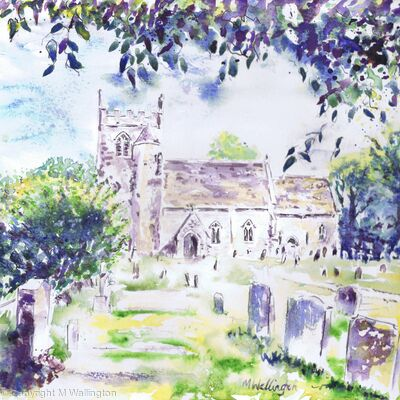 Clanfield Church from Under the Cherry Tree