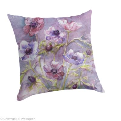 Large throw pillow Anemones in the Mist