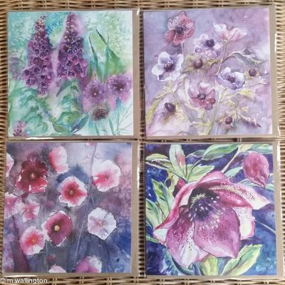Set of 4 Square Greetings Cards - Floral