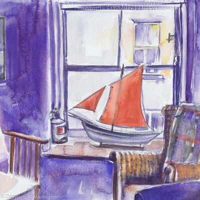 Red Sail in the Cottage Window, Staithes