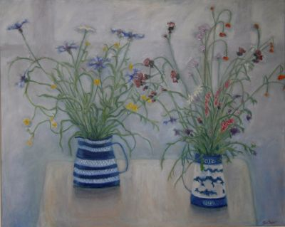 two jugs and cornflowers