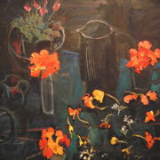 black, blue,nasturtiums