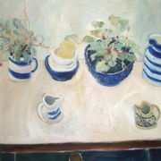 Blue bowls, jugs and cyclamen