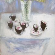 Joan's vase,  cups and tablecloth