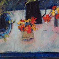 Blue, Black Jug, Nasturtiums