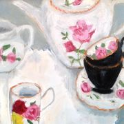 Rose Teapot, white cloth