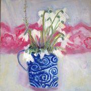 Blue mug, snowdrops