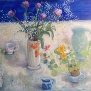 Peonies, nasturtiums , blue