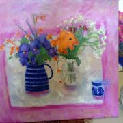 Hibiscus, crocosmia, marigolds