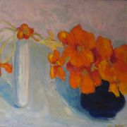 Nasturtiums, blue jug, white vase