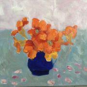 Nasturtiums, blue jug