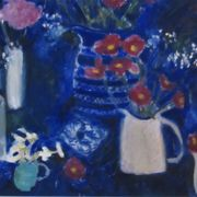 Blue, jugs, chrysanths 2