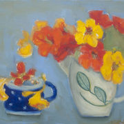 Two jugs, nasturtiums