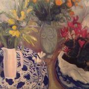 Two dogs, Cyclamen, Delft plates