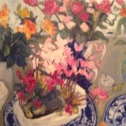 Delft plates, flowers