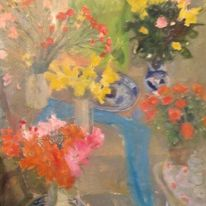 Flowers , blue scarf
