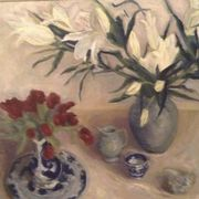 White lilies, tulips