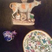 Staffordshire  cow, plate, cup, crocus