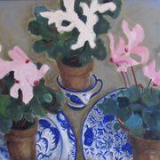 Delft plates, cyclamen, Rosie's cup