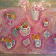 Pink, gladioli, nasturtiums