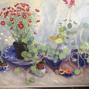 Nasturtiums, blue and white bowls and jugs