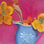 Blue jug , nasturtiums