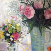 Garden flowers, peonies, nasturtium
