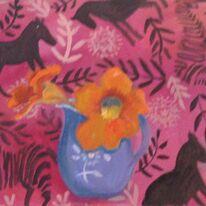 Pink, horses, nasturtium