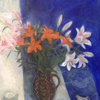 Orange & pink lilies(tryptych3)